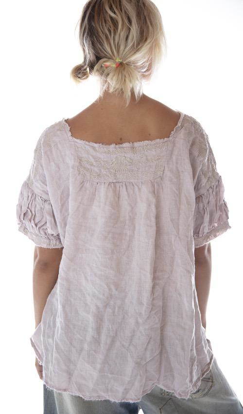 European Linen Embroidered Keldan Blouse with Raw Edges and Gathered Peasant Sleeves, Magnolia Pearl
