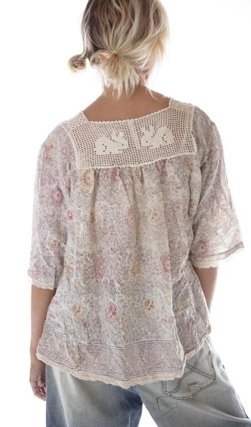 European Cotton Hand Block Print Eula Top with Sunfading, Hand Crochet Rabbit Yoke, Small Front Pocket and Lace Details, Magnolia Pearl