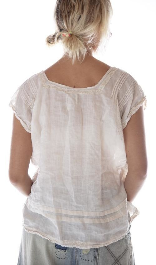 Linen Ramie Embroidered Sydni Smock Blouse with Pintucks, Cotton Laces and Small Front Pockets, Magnolia Pearl