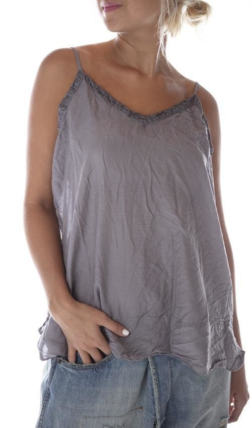 Whisky Silk Layering Tank with Tattered Lace Trim and Adjustable Straps, Magnolia PearlWhisky Silk Layering Tank with Tattered Lace Trim and Adjustable Straps, Magnolia Pearl