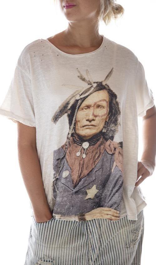 Cotton Jersey Native American Law T, New Boyfriend Cut, Magnolia Pearl