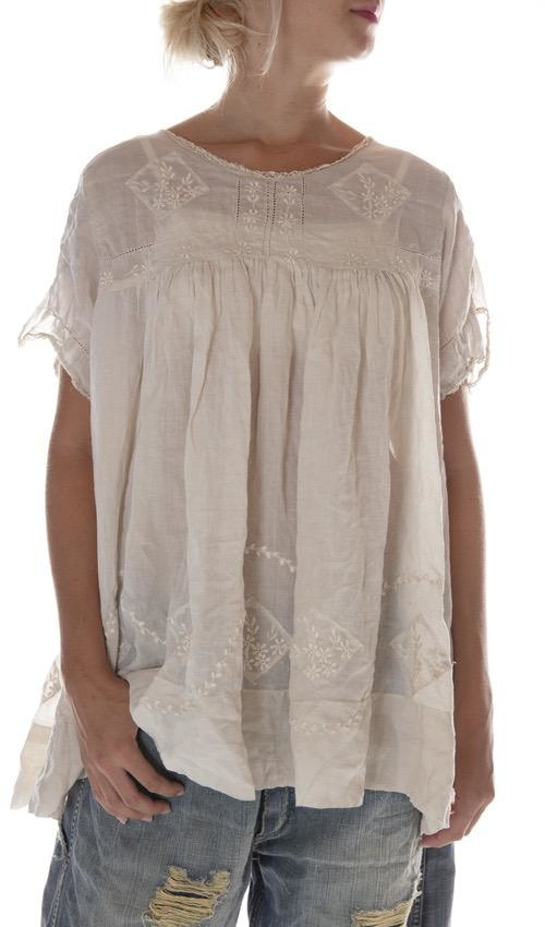 Linen Ramie Embroidered Savanna Blouse with Cotton Lace Details and Snaps at Back, Magnolia Pearl