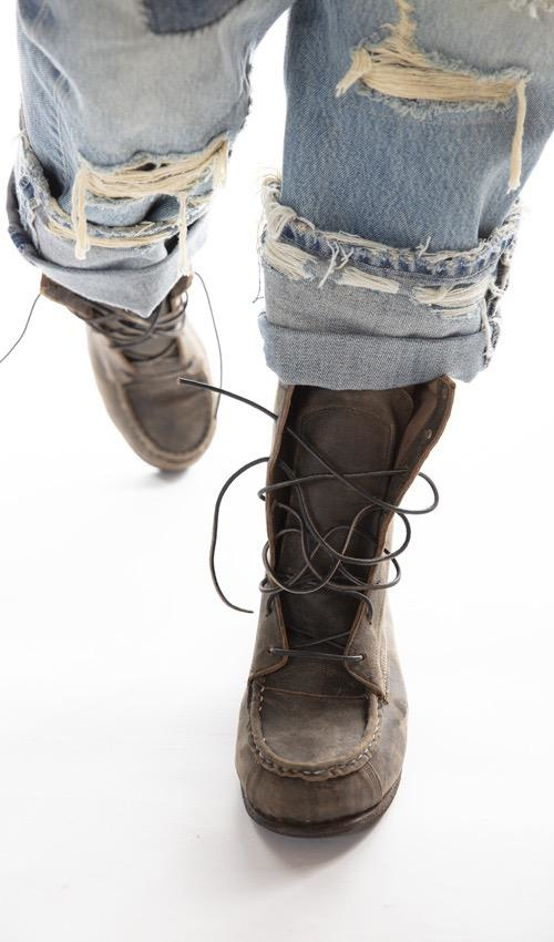 All Leather Jackson Lace Up Boots with Leather Sole, Magnolia Pearl