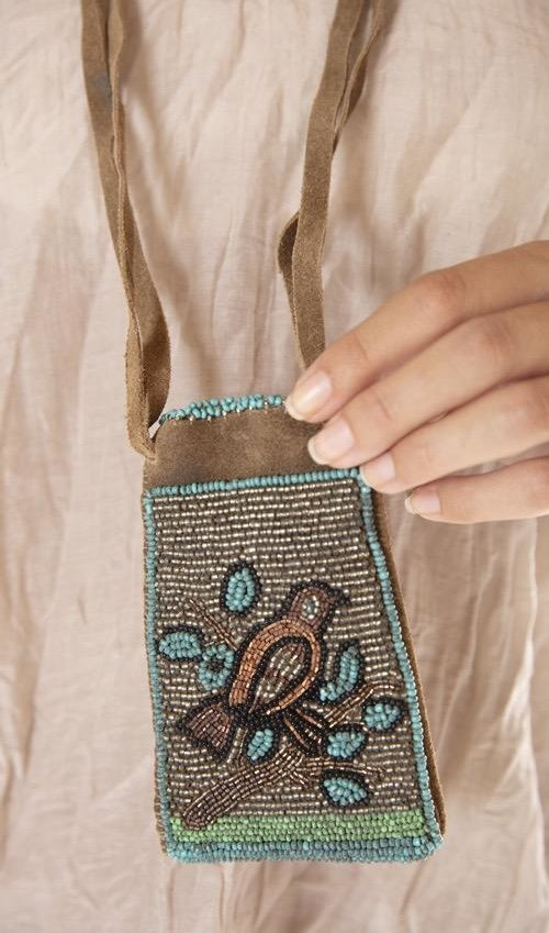 Hand Beaded Mocking Bird Medicine Pouch Bag with Leather Straps, Magnolia Pearl