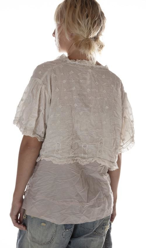 European Cotton Ada Lovelace Top with Embroidery and Cotton Lace, Magnolia Pearl