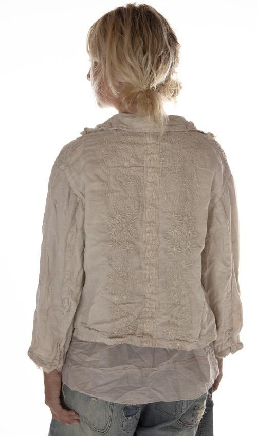 Linen Ramie Embroidered Anneli Jacket with Cotton Lace Details, Patches, Hand Mending, Distressing and Mixed Buttons, Magnolia Pearl
