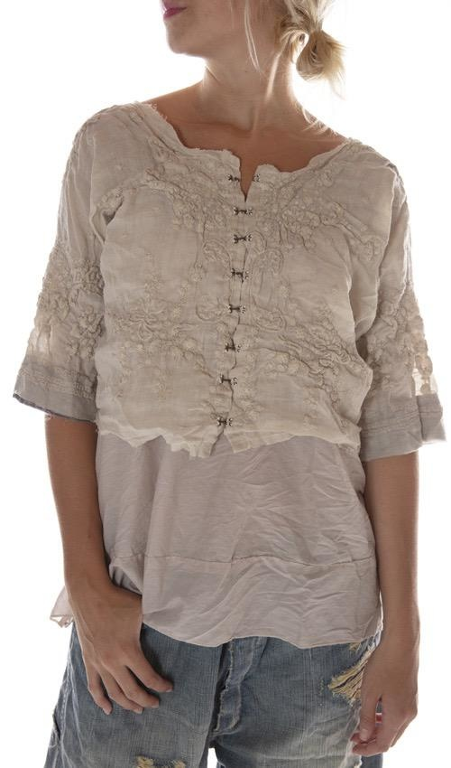Linen Ramie Embroidered Eiffel Tower Overtop with Three Quarter Sleeves, Raw Edges and Antique Hooks, Magnolia Pearl