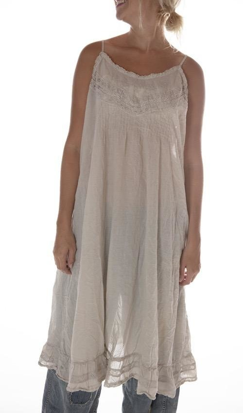 European Cotton Minette Day Slip with Cotton Lace, Pintucks and Embroidery, Adjustable Thin Straps, Magnolia Pearl