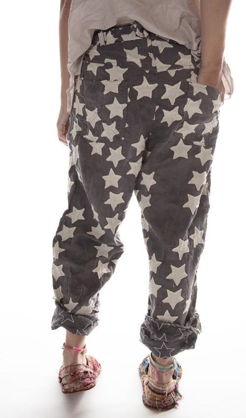 Cotton Linen Hand Stitched Star Applique Miner Pants with Distressing, Fading and Button Waist with Buckle at Back, Magnolia Pearl