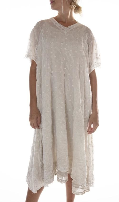 European Cotton Ada Lovelace Dress with Embroidery and Cotton Lace, Magnolia Pearl