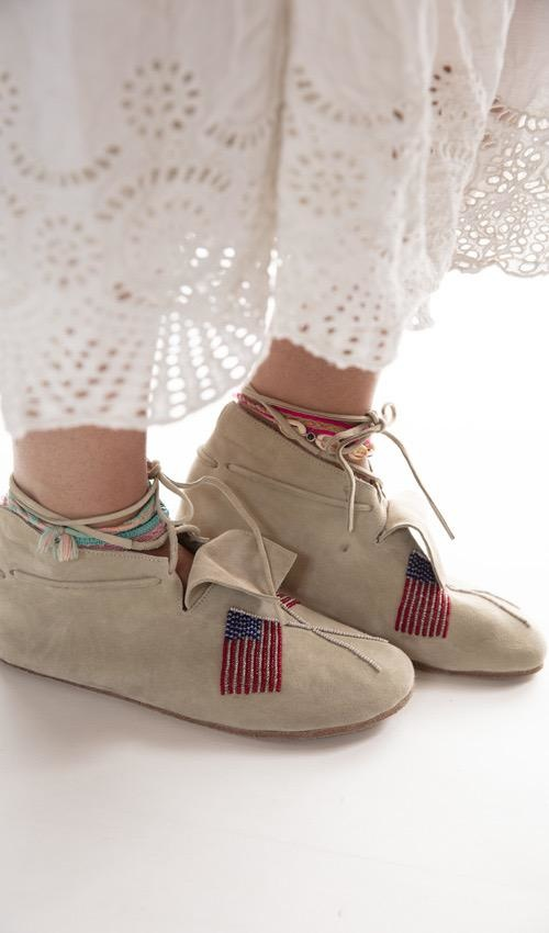 All Leather Hand Beaded Native Sitting Bull Moccasins with Leather Sole, Magnolia Pearl