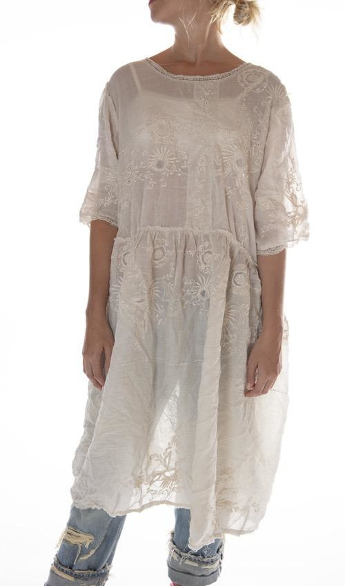 Linen Ramie Embroidered Hadie Mae Brown Dress with Openwork and Tattered Lace, Raw Edges and Snaps Down Back, Magnolia Pearl