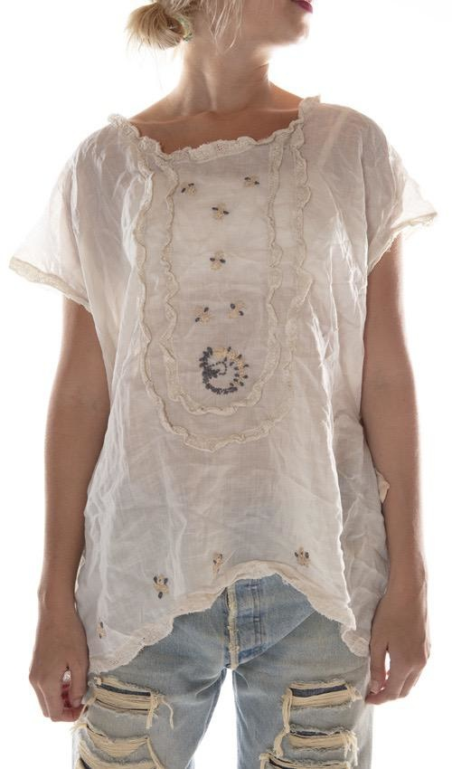 Linen Ramie Isidora Blouse with Hand Embroidery, Cotton Lace and Silk Ties, Magnolia Pearl