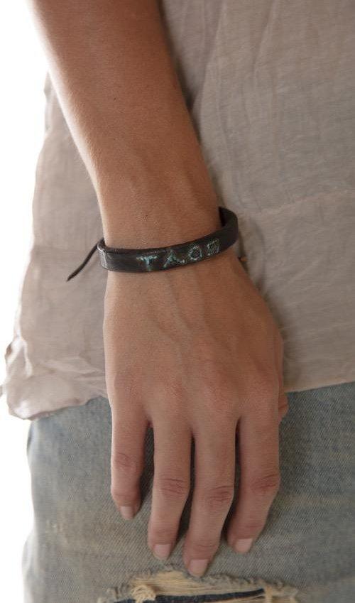 Handmade Vintage Leather TAOS Bracelet with Adjustable Tie, One Of A Kind, Magnolia Pearl