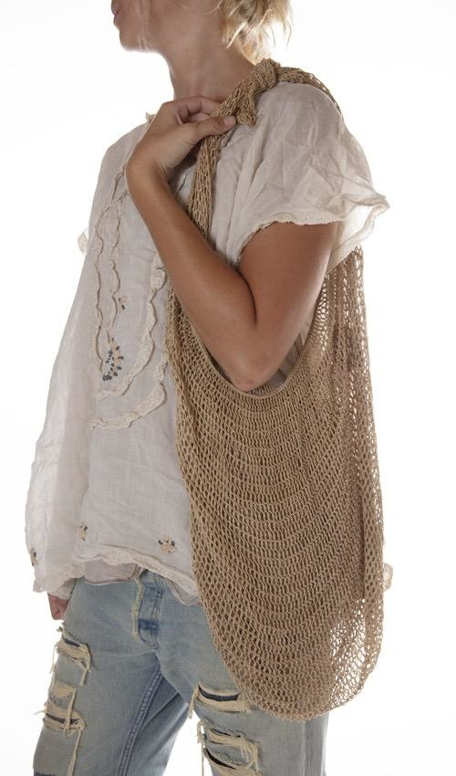 Hand Crafted Natural Fiber Bilum Bag, One Of A Kind, Magnolia Pearl