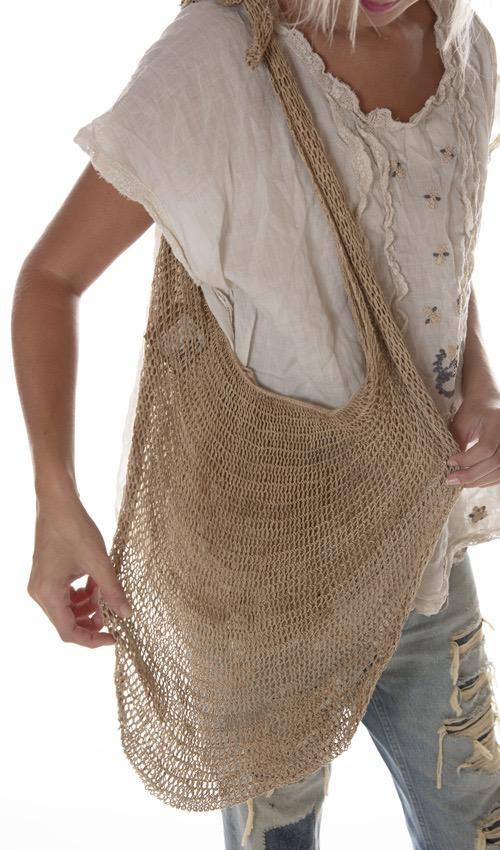 Hand Crafted Natural Fiber Bilum Bag, One Of A Kind, Magnolia Pearl