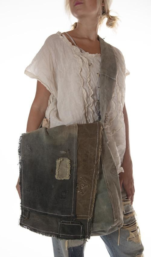 Vintage Reconstructed Army Crossbody Tote, One Of A Kind, Magnolia Pearl