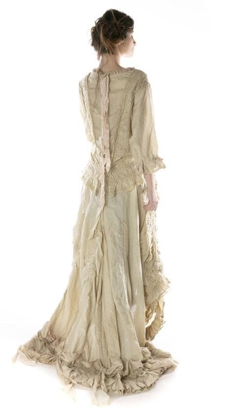 Linen Ramie and Cotton Silk Hyacinth Gown with Cotton Laces, Silk Accents, Raw Silk Ties, Train Gathering at Bottom and Buttons Down Back, Magnolia Pearl