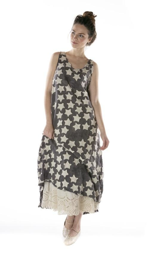 Cotton Linen Hand Stitched Star Applique Layla Tank Dress with Raw Edges, Fading and Distressing, Magnolia Pearl
