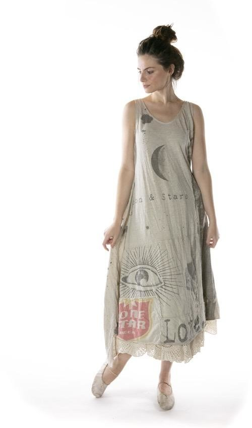Cotton Jersey Art Graphic Layla Tank Dress with Patching and Raw Edges, Magnolia Pearl