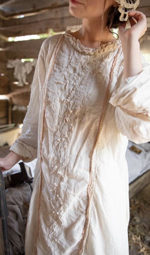 European Cotton and Cotton Silk Queen Nellie Dress with Embroidery, Applique Flowers, Cotton Lace Details, Silk Trim and Ruffles, Snaps Down Back, Magnolia Pearl