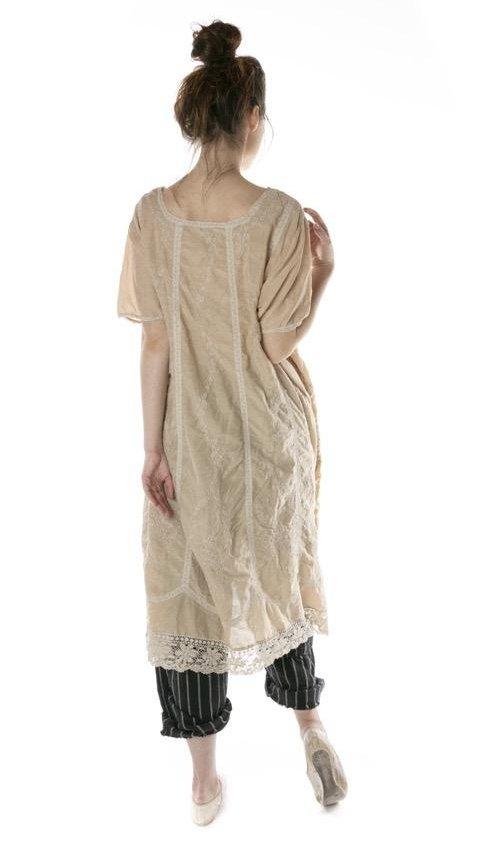 Cotton Silk Embroidered Virgie Dress with Cotton Lace Details, Magnolia Pearl
