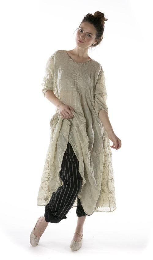 Linen Ramie Embroidered Roan Irish Dress with Cotton Lace Details and Antique Hooks At Back, Magnolia Pearl