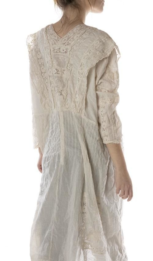 European Cotton Batiste Embroidered Tea Dress with Cotton Lace Details, Pintucks and Snaps at Back, Magnolia Pearl