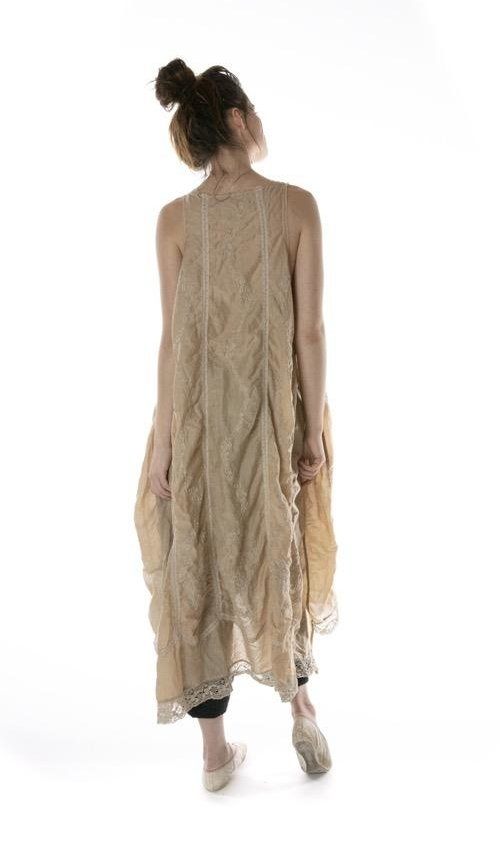 Cotton Silk Embroidered Layla Tank Dress with Cotton Lace Details, Magnolia Pearl