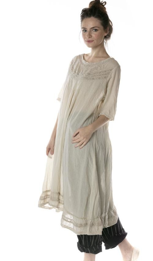 European Cotton Minette Dress with Cotton Lace, Pintucks and Embroidery, Magnolia Pearl