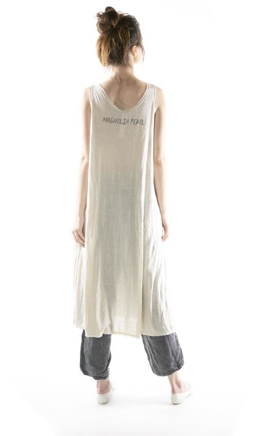 Cotton Viscose Linen Olena Tank Dress with Raw Edges, Magnolia Pearl
