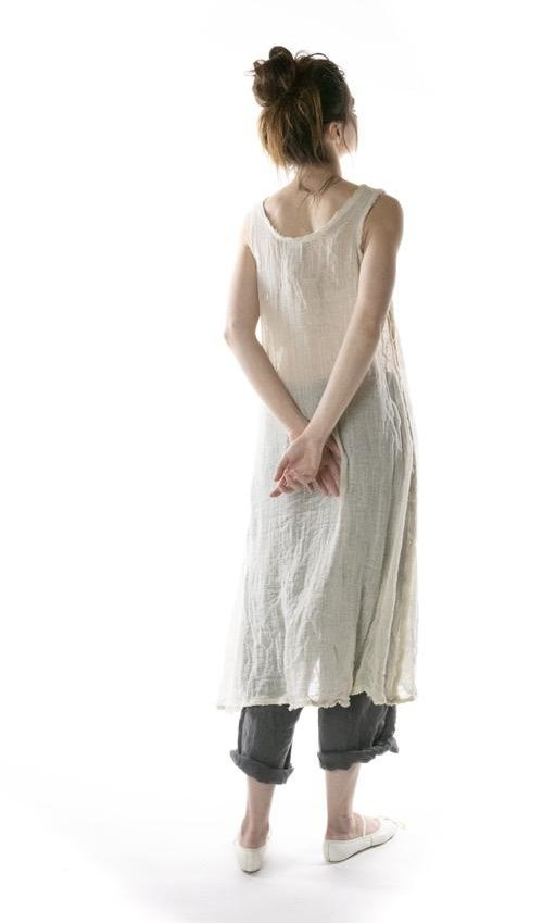 Hand Woven Cotton Gauze Olena Slip Dress, Magnolia Pearl