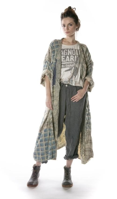 Mixed Cotton Patchwork Holland Kimono with Fading, Raw Edges and Distressing, Magnolia Pearl