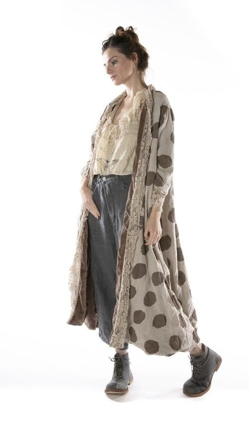 Cotton Velvet Embroidered OLeary Coat with Cotton Lace Placket, Distressing and Fading, Magnolia Pearl