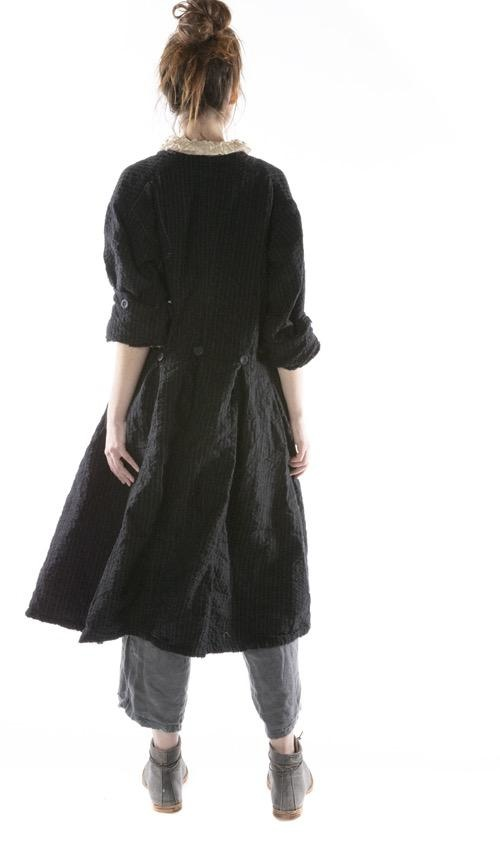 Fine Quilted Wool Leni Jacket with Hand Stitching, Distressing, Mending and Buttons Down Front, Magnolia Pearl