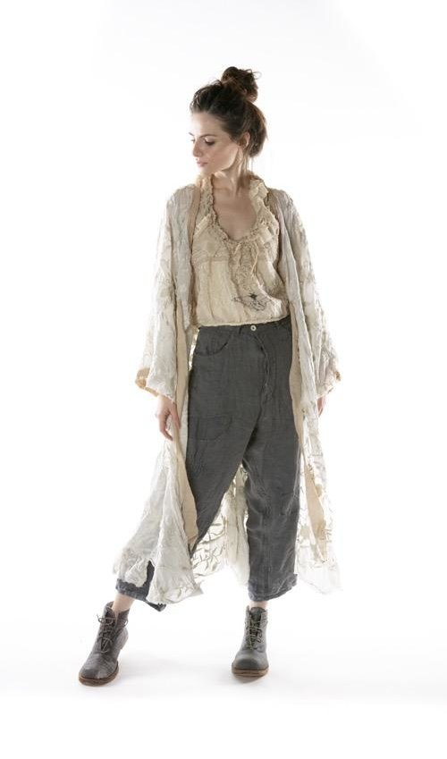 European Cotton Floral Embroidered Piano Shawl Kimono with Silk Patches at Neck and Ties, Raw Edges, Magnolia Pearl