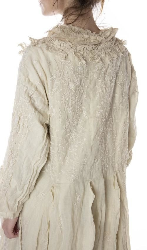 Linen Ramie Embroidered Olivia Jacket with Cotton Lace Details at Collar, Antique Hooks, Distressing and Mending, Magnolia Pearl