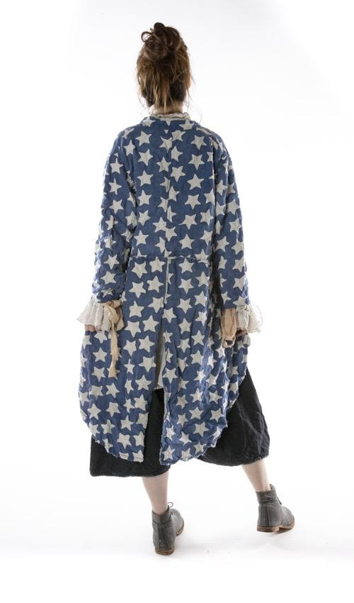 Woven Cotton Star Applique Emmett Tuxedo Coat with Small Front Pockets and Snaps, Magnolia Pearl