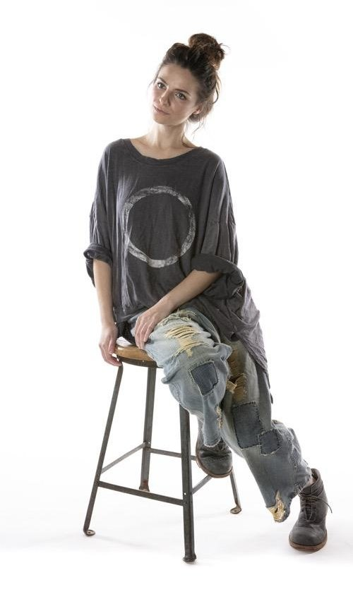 Cotton Jersey Oversized Hi Lo Salvador Francis Pullover T with Distressing and Fading, Magnolia Pearl