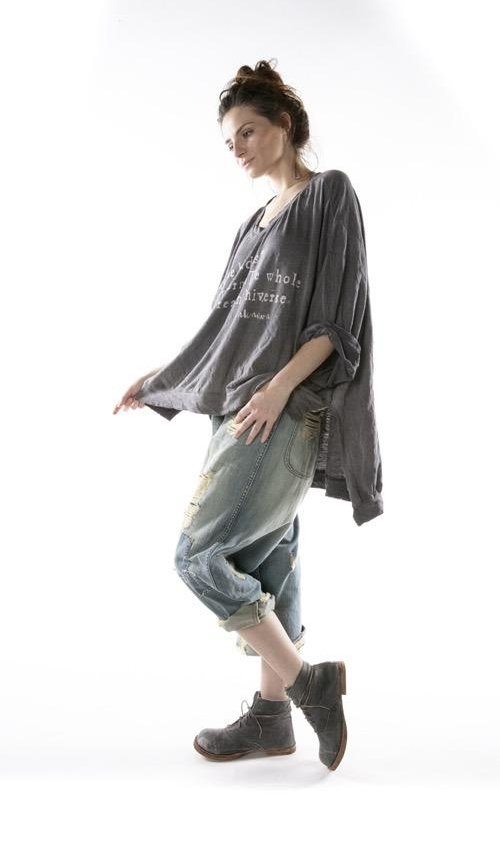 Cotton Jersey Oversized Hi Lo Unicorn Francis Pullover T with Distressing and Fading, Magnolia Pearl