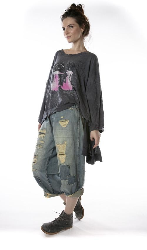 Cotton Jersey Oversized Hi Lo After The Disco Francis Pullover T with Distressing and Fading, Magnolia Pearl