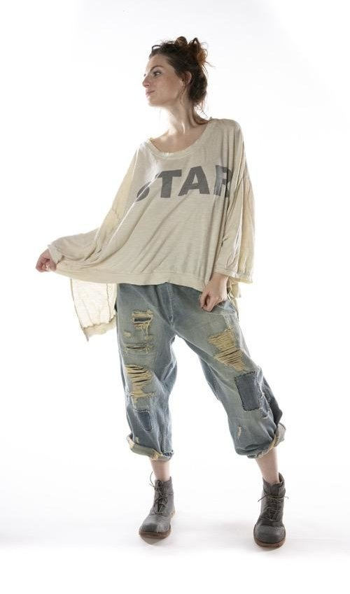 Cotton Jersey Oversized Hi Lo Bold Star Francis Pullover T with Distressing and Fading, Magnolia Pearl