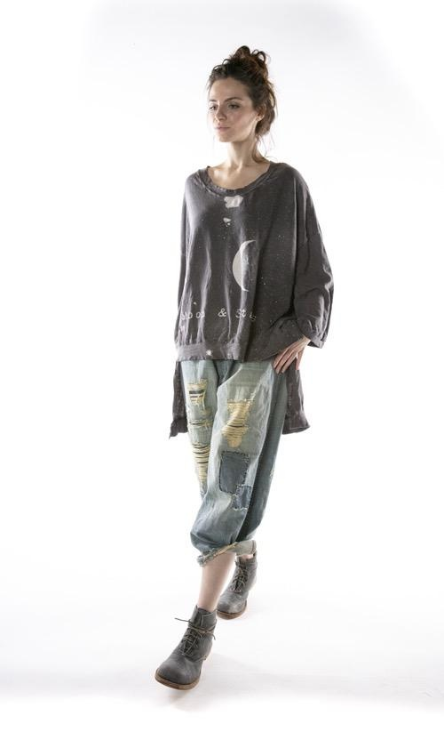 Cotton Jersey Oversized Hi Lo Moon and Stars Francis Pullover T with Distressing and Fading, Magnolia Pearl