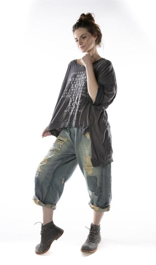 Cotton Jersey Oversized Hi Lo Mad Love Francis Pullover T with Distressing and Fading, Magnolia Pearl