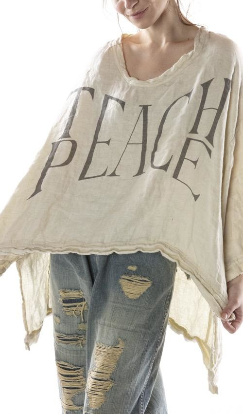 Cotton Twill Linen Oversized Teach Peace Hi Lo Francis Pullover with Distressing and Fading, Magnolia Pearl