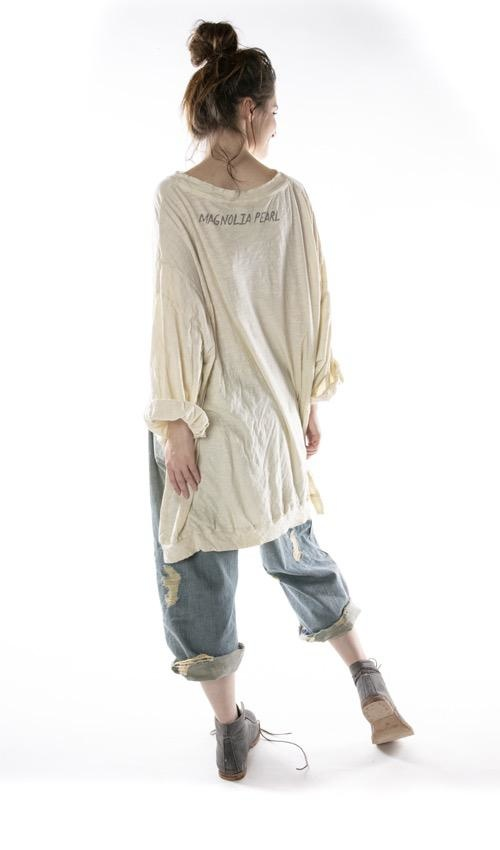 Cotton Jersey Oversized Hi Lo Zig Zag Francis Pullover T with Distressing and Fading, Magnolia Pearl