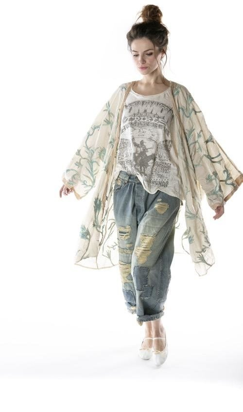 Cotton Silk Krewel Work Embroidered Kimono with Silk Patches at Edges, Magnolia Pearl
