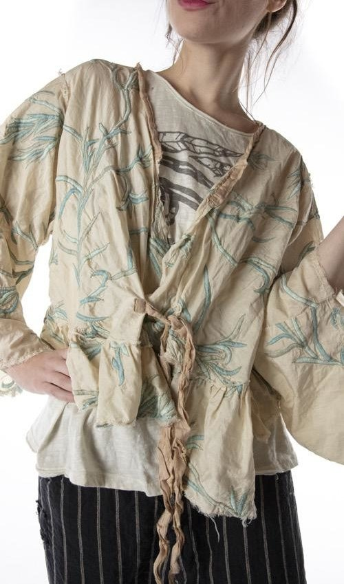 Cotton Silk Embroidered Krewel Work Lise Lotte Piano Shawl Jacket with Silk Patches at Neck and Ties, Raw Edges, Magnolia Pearl