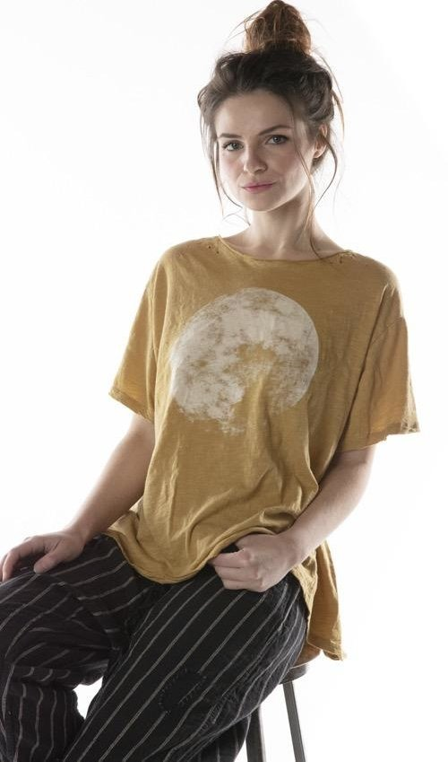 Cotton Jersey Moon T with Hand Distressing, New Boyfriend Cut, Magnolia Pearl