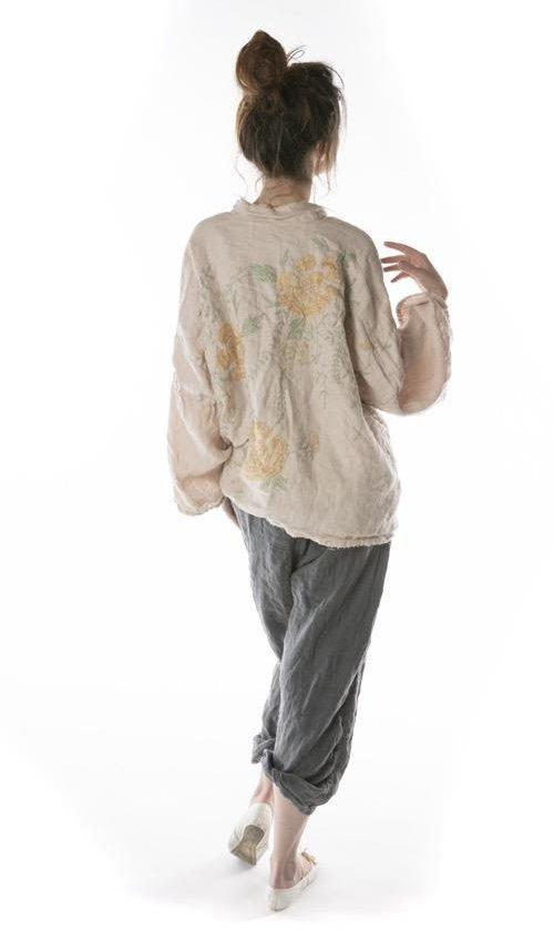 Cotton Twill Linen Clodia Hand Embroidered Floral Kimono, Magnolia Pearl